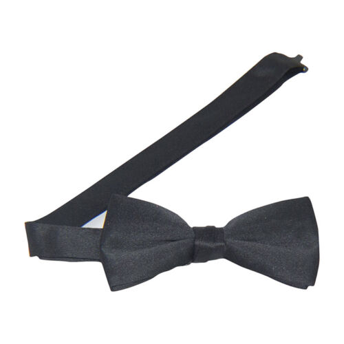 Black Satin Banded Bow Tie