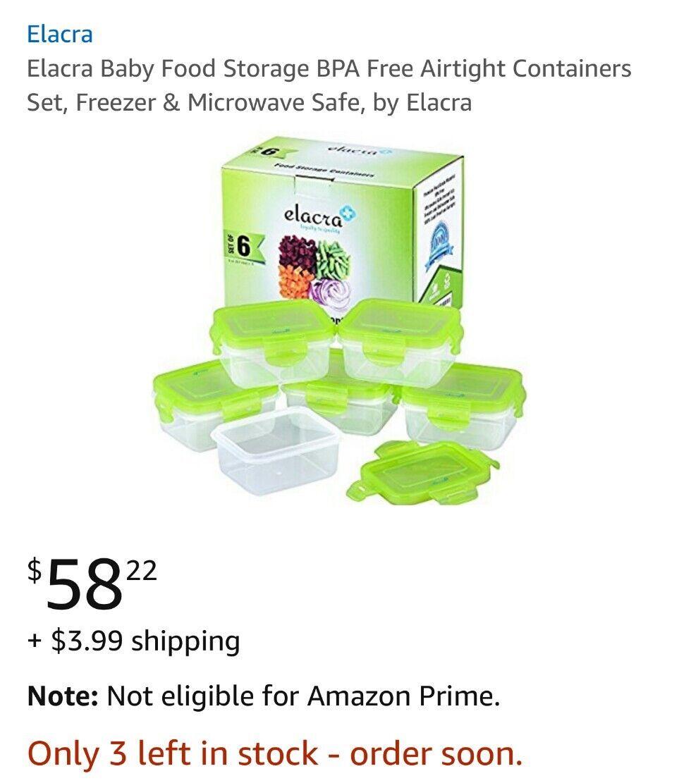 Elacra Baby Food Storage BPA Free Airtight Containers Set, Freezer & Microwave