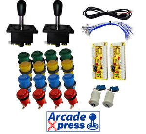 Kit-Arcade-x2-Spanish-Joysticks-Negros-18-botones-2-players-USB-Mame-Bartop
