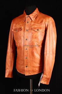 Mens WEST Brown Wash Slim-Fit Western Trucker Cowboy Real Lambskin Leather Shirt