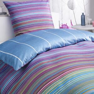 Bettwäsche Set Jeans Multicolor Streifen Gestreift Bunt Blau