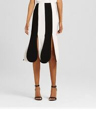 Women's Black and White Stripe Scallop Midi Skirt 2-Victoria Beckham For Target
