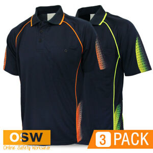 5 X Unisex Sublimated Galaxy Design Hi Vis Panel Polo Uniform Office