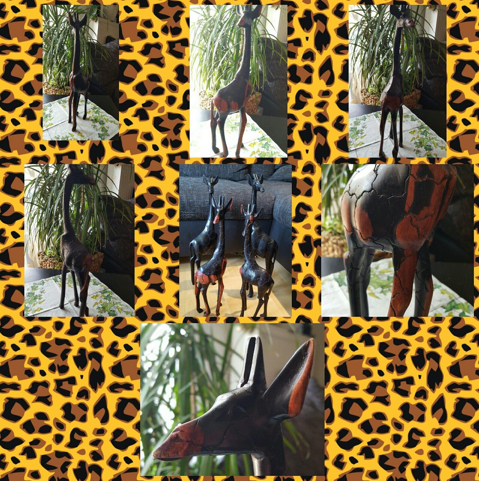 Afrika Deko Deko Deko Giraffen Figur  dekoration holz ca.41cm e39880