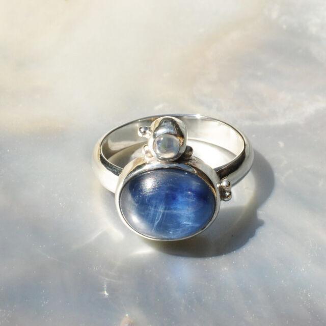 Disthen Ring, 925er Silber, Edelsteinring (21593), mit Mondstein