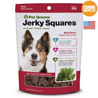 Pet Greens Jerky Squares Beef Flavor Dog Training Treats, 4-ounce Bag