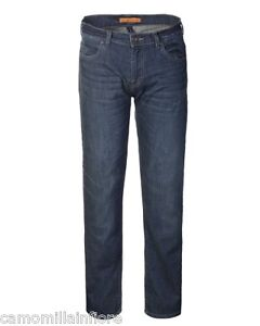 Jeans-Uomo-Elasticizzati-Pantaloni-Blu-denim-5-tasche-Stonewashed-Gamba-Dritta