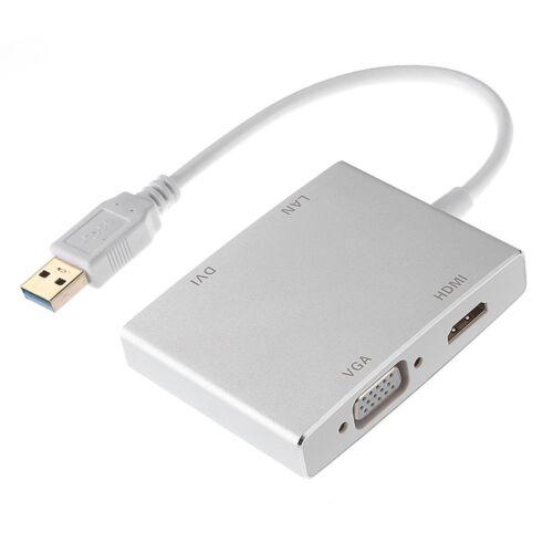 USB 3.0 to HDMI DVI VGA External Graphics Video Card Adapter W// Network Lan