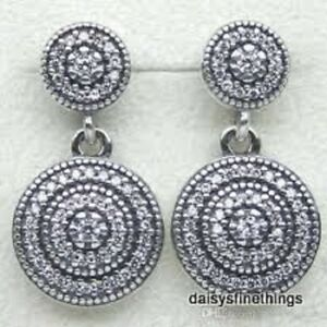 43a727431 Image is loading AUTHENTIC-PANDORA-SILVER-EARRINGS-RADIANCE-ELEGANCE -DANGLES-290688CZ-