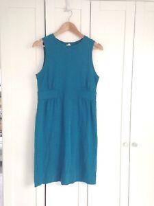 446e934de4b J. CREW Women s sz M Sleeveless Blue Knit Pleated Button Shift Dress ...
