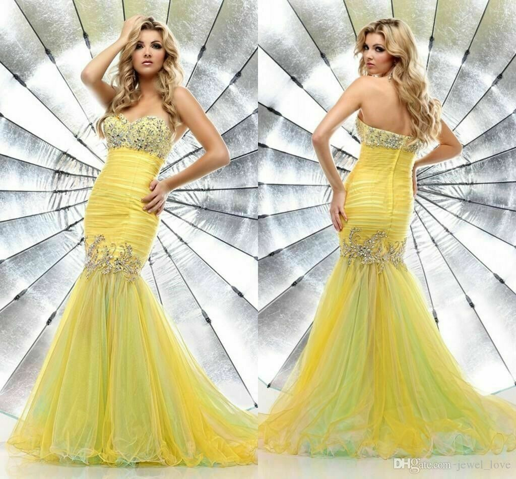 Yellow Jeweled Mermaid Tulle Fit and Flare Formal Gown Prom Dress Size 4* EUC!