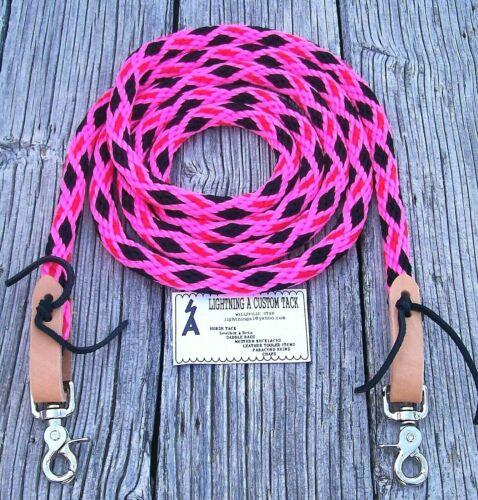 9/' Reins Rope Roping Rein Barrel Racing Pony Loop Single black pink red Details about  /6/'