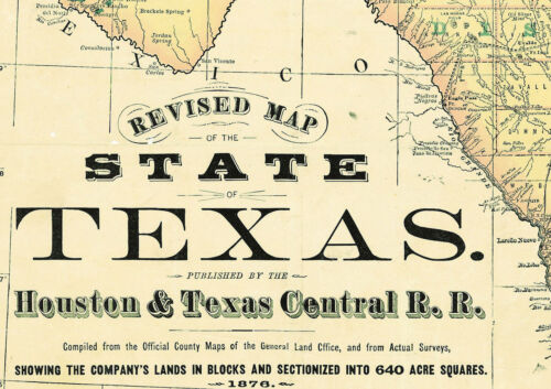 1876 Map of the State of Texas Rand Mcnally Vintage Reprint Art Poster Teachers