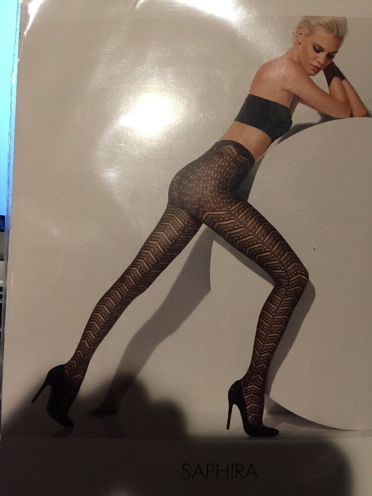 WOLFORD Saphira Silk Blend KNIT TIGHTS PANTYHOSE NYLONS Beluga Extra Small 13058