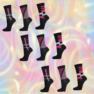 9-Paar-edle-Damen-Socken-Freizeit-Struempfe-pink-schwarz-10445A