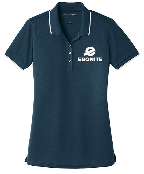 Ebonite Women's Choice Dry Zone Micro-Mesh Tipped Polo Bowling Shirt Navy White