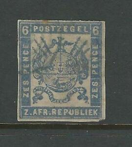 Transvaal: Scott 2 imperf, 6 pence, good, difficult...TRS01