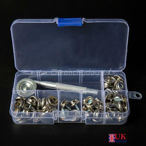 Stainless Canvas to Screw Press Stud Snap Fastener Kit Fit Boat Truck Cover