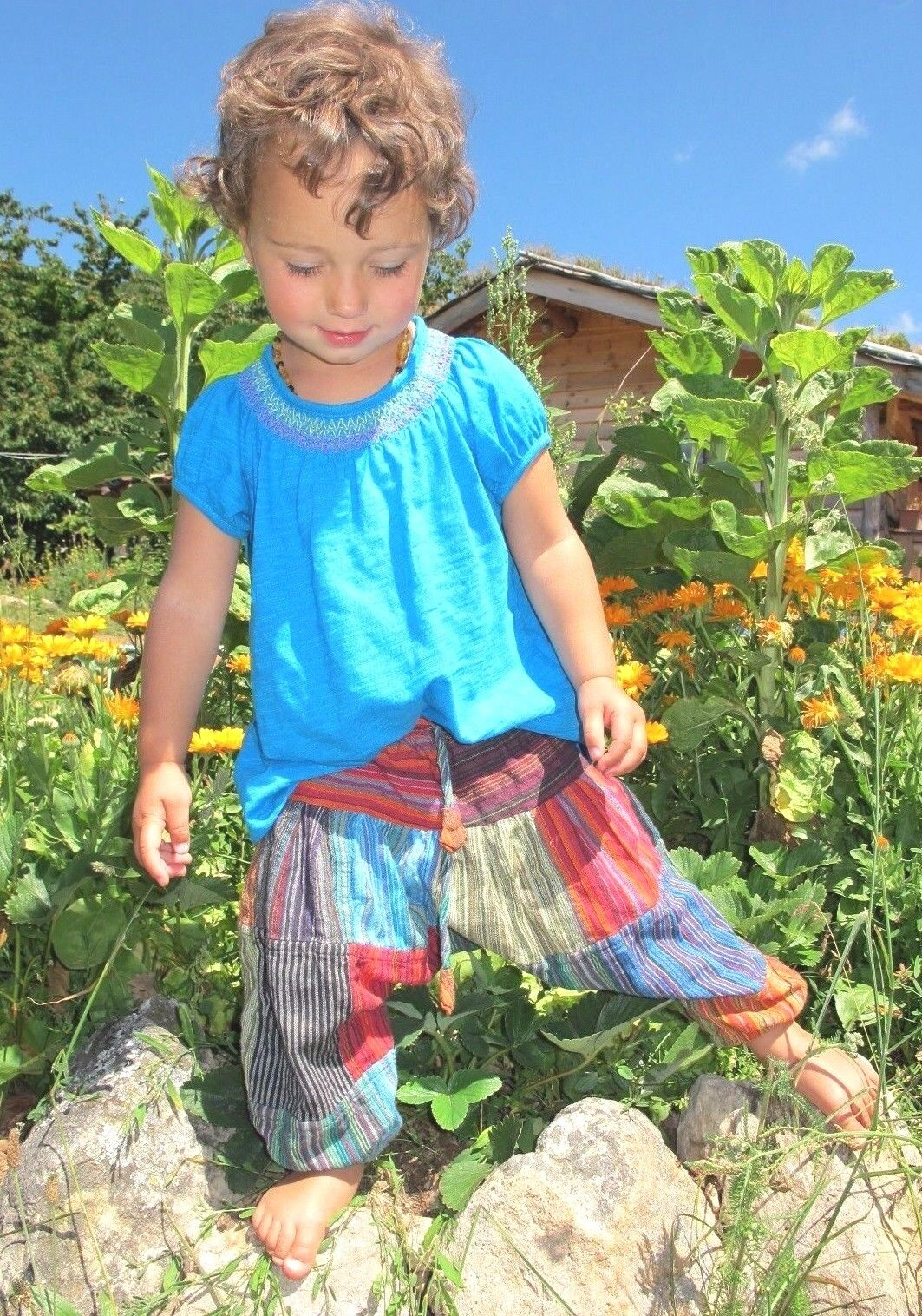 Fairtrade Childrens Kids Green Harem Trousers Girls//Boys Hippie Festival Clothes