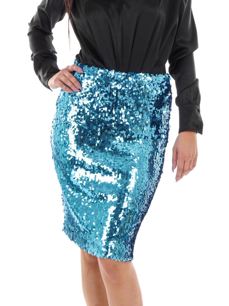 Richard Kravetz Pencil Skirt Summer Skirt blue Sequin Zipper