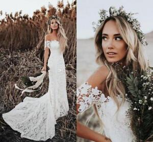 Details About 2019 Lace Mermaid Wedding Dresses Off Shoulder Boho Bridal Gowns Sweep Train