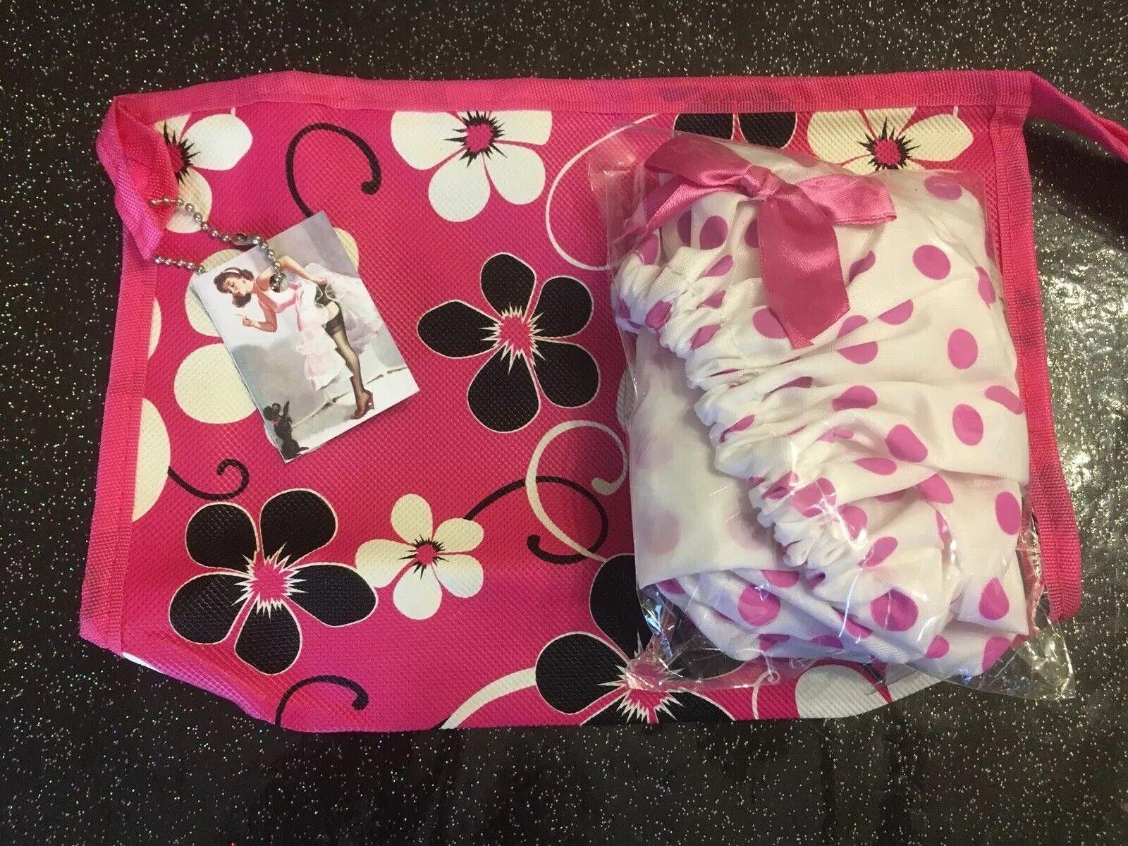 Retro Rockabilly Tropical Floral Toiletry Bag +Polka Dot 50's Shower Cap 2Pc Set