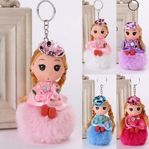 Chains-Bags-Hang-Doll-Key-Chain-Fur-Fluffy-Little-Princess-Keyring-Pendant