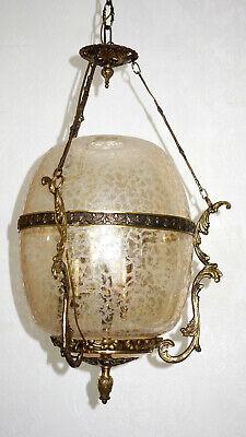 Gutherzig Antik Französische Messing-glas Kronleuchter, Lüster, Hollampe 3 Flammig Hitze Und Durst Lindern.