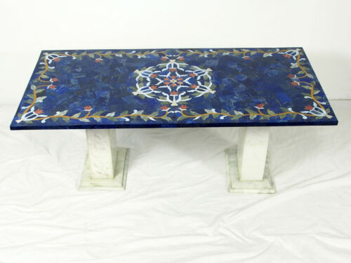 120x60 cm Lapis Lazuli Pietra Dura CouchtischTisch Mosaik table wohnzimmertisch