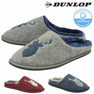 Dunlop-Mens-Slippers-Stag-Slip-On-Mule-Faux-Fur-Lining-Memory-Foam-Sizes-7-12