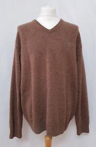 Gant-Lambswool-Men-039-s-Brown-V-Neck-Jumper-Size-2XL