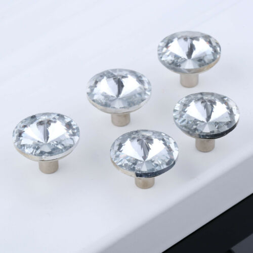 Clear Mini Round Crystal Furniture Handles Cabinet Pull Door Cupboard Knobs 5PCS