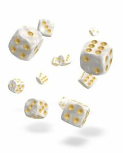 Oakie-Doakie-Dice-12mm-W6-Cube-Marble-White-36-D6-Tabletop-Marble-White