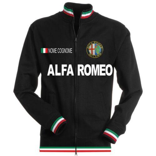 Sweat-Shirt Tricolore Alfa Romeo Noir Black T-Shirt Polo Cou Patch Chemise