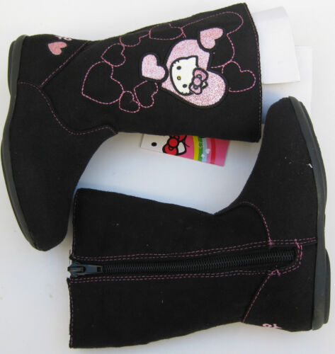 New Hello Kitty Lil Sophia Black Toddler Girls Fabric Mid-Calf Boots Size 6//7
