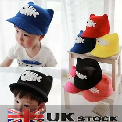 Sweet  Kids Children Boys Girls Toddler Fish Bone Sun Cap Straw Hat UK SELLER