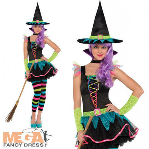 Teen Neon Witch Hat Age 10-16 Halloween Fancy Dress Girls Kids Witches Costume