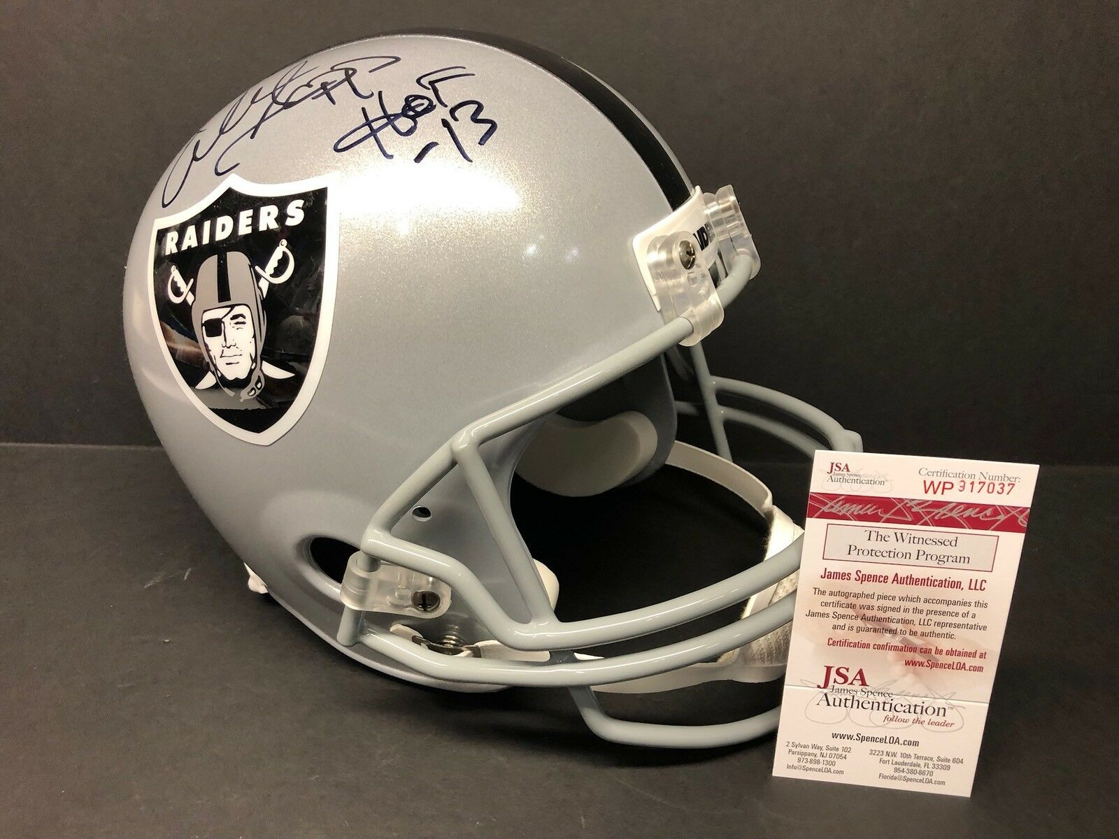 "Warren Sapp Signed Oakland Raiders F/S Replica Football Helmet ""HOF 13"" JSA 7037"