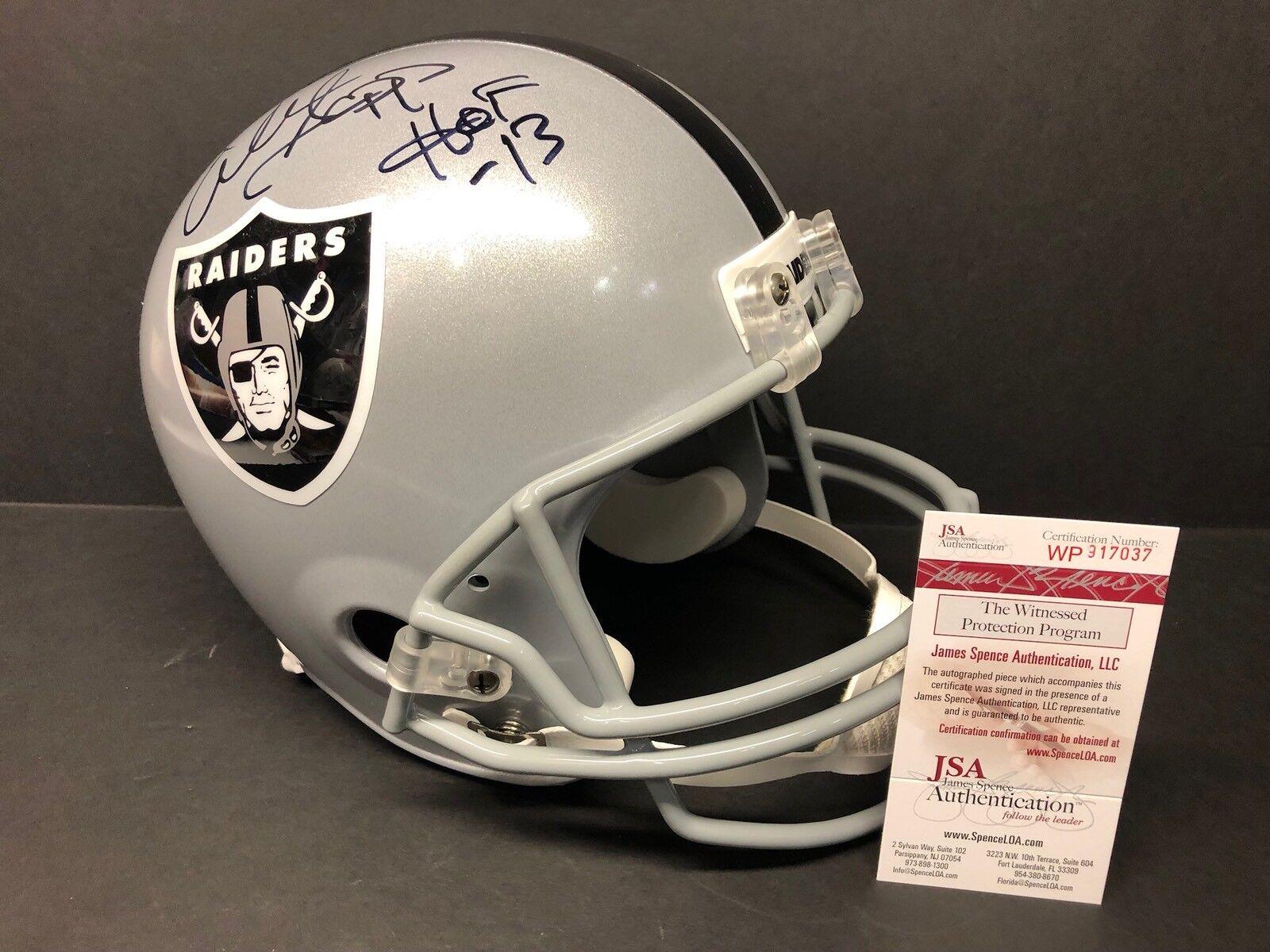 "Warren Sapp Signed Oakland Raiders F/S Replica Football Helmet ""HOF 13"" JSA 7037"