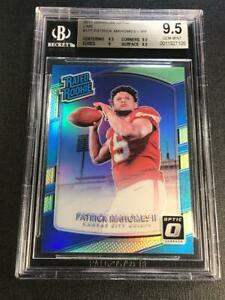 PATRICK-MAHOMES-2017-DONRUSS-OPTIC-177-LIME-REFRACTOR-ROOKIE-RC-BGS-9-5-CHIEFS