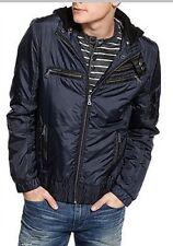 New $180 GUESS Mens Size XL Hooded Motorcycle Jacket Moto Biker Coat Navy Blue