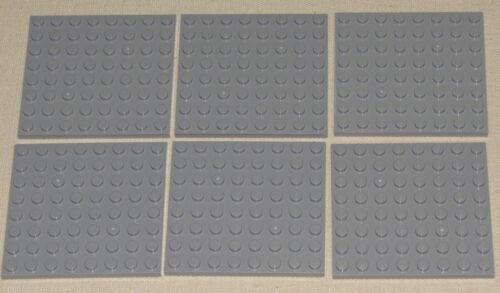 LEGO LOT OF 6 NEW LIGHT BLUISH GREY 8 X 8 DOT PLATES PLATFORMS PIECES