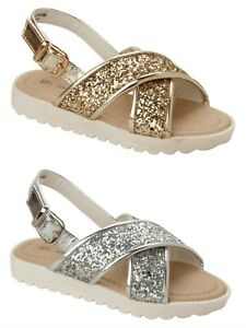 GIRLS DIAMANTE FLOWER FLAT HOLIDAY SUMMER PARTY SANDALS INFANTS UK SIZE 10-2