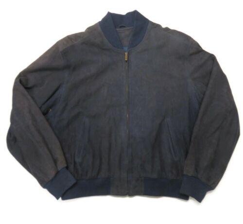 Coach Mens Blue Suede Leather Bomber Jacket Medium