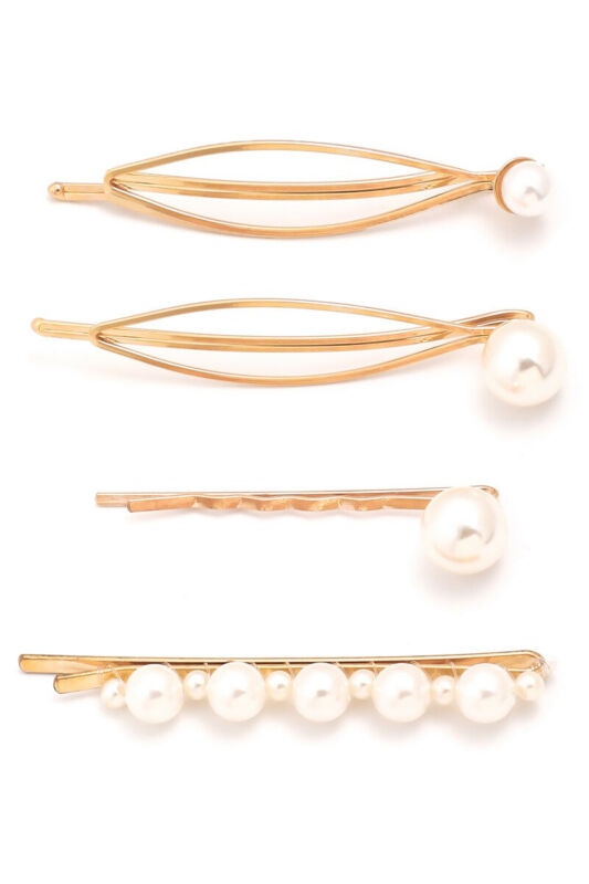 4 Piece Gold Pearl Hairpin Set Bobby Pin Barrette Usa Seller Fast Ship! New/sds