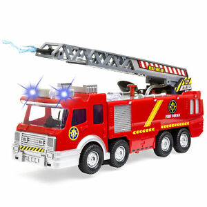 Bump-and-Go-Electric-Fire-Truck-Toy-Lights-Sound-Extendable-Ladder-Water-Hose