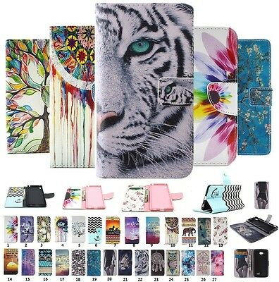 For Sony Phone Luxury Painted Flip PU Leather Wallet Card Stand Case Cover Pouch