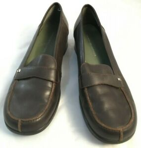 b1b8fe9ac7d Tommy Hilfiger Womens Size 8.5 M Brown Leather Round Toe Loafers ...