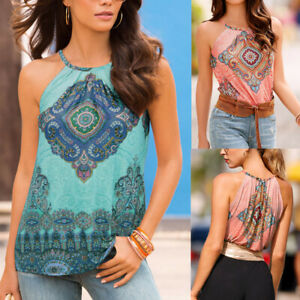 Boho-Women-039-s-Sleeveless-T-Shirt-Tank-Tops-Summer-Blouse-Beach-Casual-Loose-Vest