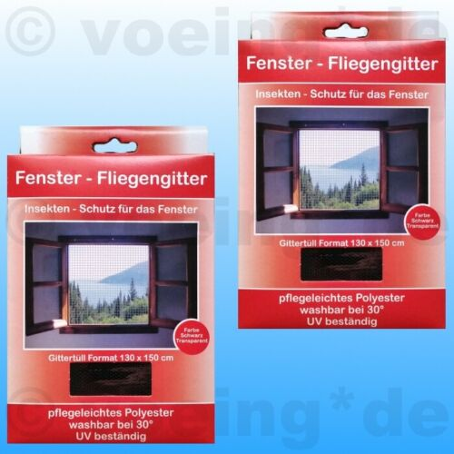 4x fenêtre moustiquaire moustiquaire 130 x 150 CM NOIR Moustique Insectes Filet